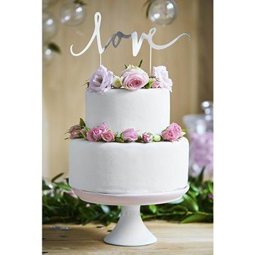 Cake Topper Love sølv