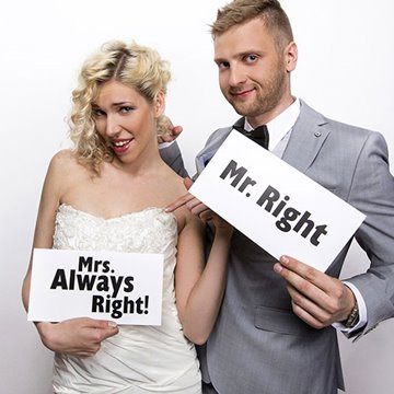 Fotosjov Mr Right og Mrs Always Right selfiesticks, 2 stk.