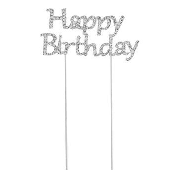 Cake Topper Happy Birthday rhinsten 15cm