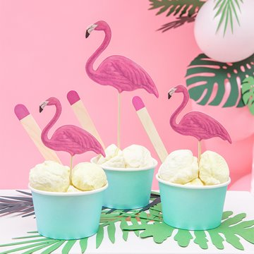 Cake Topper pink flamingo Hawaii, 6 stk