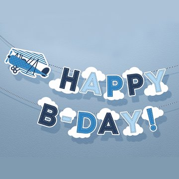 "Banner Little Plane ""Happy B-day"" 19cm x 1,7m"