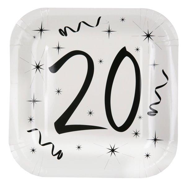 Paptallerken 20 år fødselsdag hvid/sort 23cm x 23cm, 10 stk.