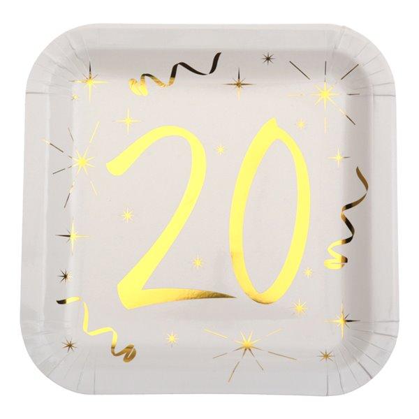 Paptallerken 20 år fødselsdag hvid/guld 23cm x 23cm, 10 stk.